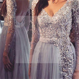 Long sleeve Prom Dresses, Grey Prom Dresses, Lace Prom Dresses, Backless Prom Dresses, V-Neck Prom Dresses, Custom Prom Dresses, PD0038