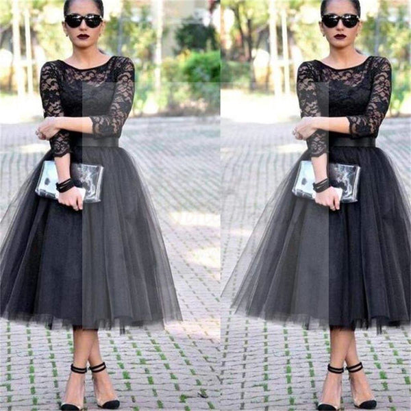 Lace Prom Dresses, Black Prom Dresses, Long Sleeves Prom Dresses, Evening Prom Dresses, Party Prom Dresses, Affordable Prom Dresses,PD0039