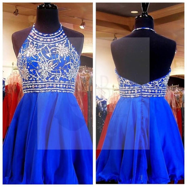 Royal Blue Chiffon Rhinestone Beaded Homecoming Dresses, SF0038