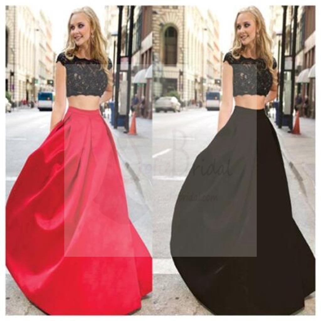Long Prom Dress, Two Pieces Prom Dress, Simple Prom Dress, Red and Black Prom Dress, Custom prom dress, Affordable Prom Dress, Party Dresses, Evening Dresses, PD0043