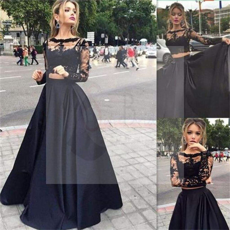 Long Prom Dress, Black Prom Dress, Prom Dress With Lace, Long Sleeve ...