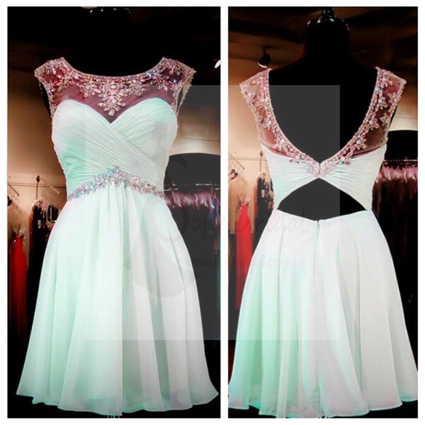 Mint Green Beaded Homecoming Dresses, Open back Prom Dresses, Sexy Backless Homecoming Dresses, Sweet 16 Dresses, Cocktail Dresses, PD0005