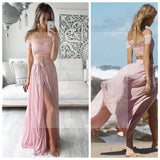 Two Pieces Off Shoulder Lace Top Sexy Side Slit Prom Dresses, Newest Prom Dresses