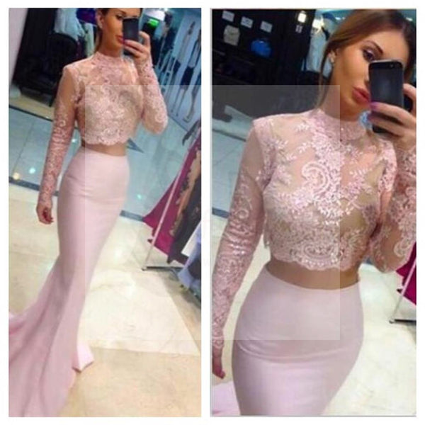 Two Pieces Pink Lace Top Long Sleeve Sexy Mermaid Prom Dresses, Formal Evening Dress