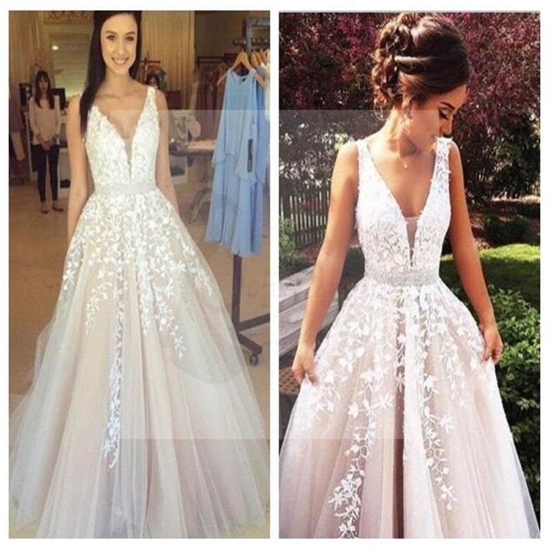 Off Shoulder Lace Prom Dress, A line Prom Dresses, Newest Prom ...