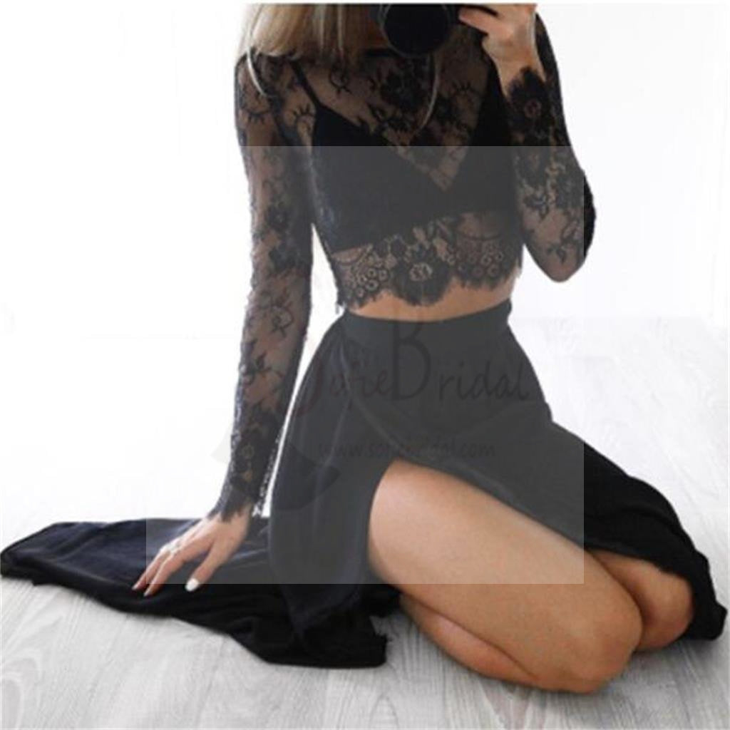 Two Pieces See Through Black Lace Chiffon Side Slit Prom Dresses, WD0253