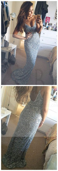 Spaghetti Straps Sexy Mermaid Backless Prom Dress,Custom Evening dresses, Prom Dresses