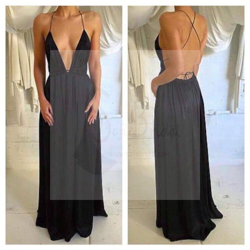 Deep V-Neck Sexy Black Chiffon Prom Dresses, Spaghetti Backless Prom Dresses