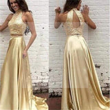 Two Pieces Gold Sequin Satin Open Back Prom Dresses, Long A-Line Prom Dresses