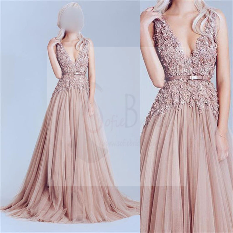 Dusty Pink Tulle Prom Dress, Off Shoulder Lace Prom Dress, Best Sale ...