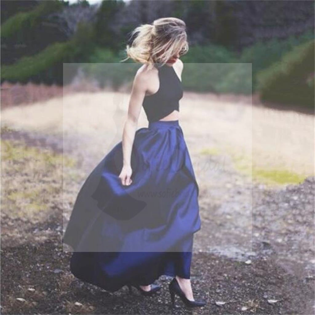 Two Pieces Sexy A-Line Navy Satin Prom Dresses, Cheap Custom Prom Dress