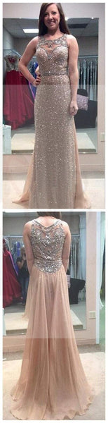 Long A-line Rhinestone Prom Dresses, Formal Beading Evening Dresses, Long Prom Dresses