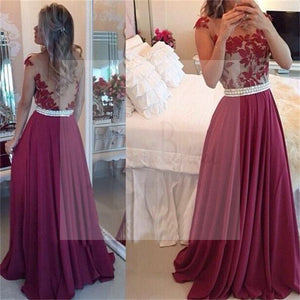 Sexy Red Lace Chiffon Prom Dresses, Popular Fashion Party Prom Dresses