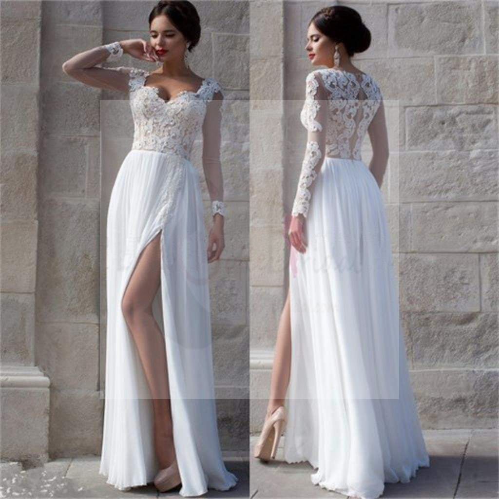 White lace side slit elegant prom dresses cheap custom for Elegant long sleeve wedding dresses
