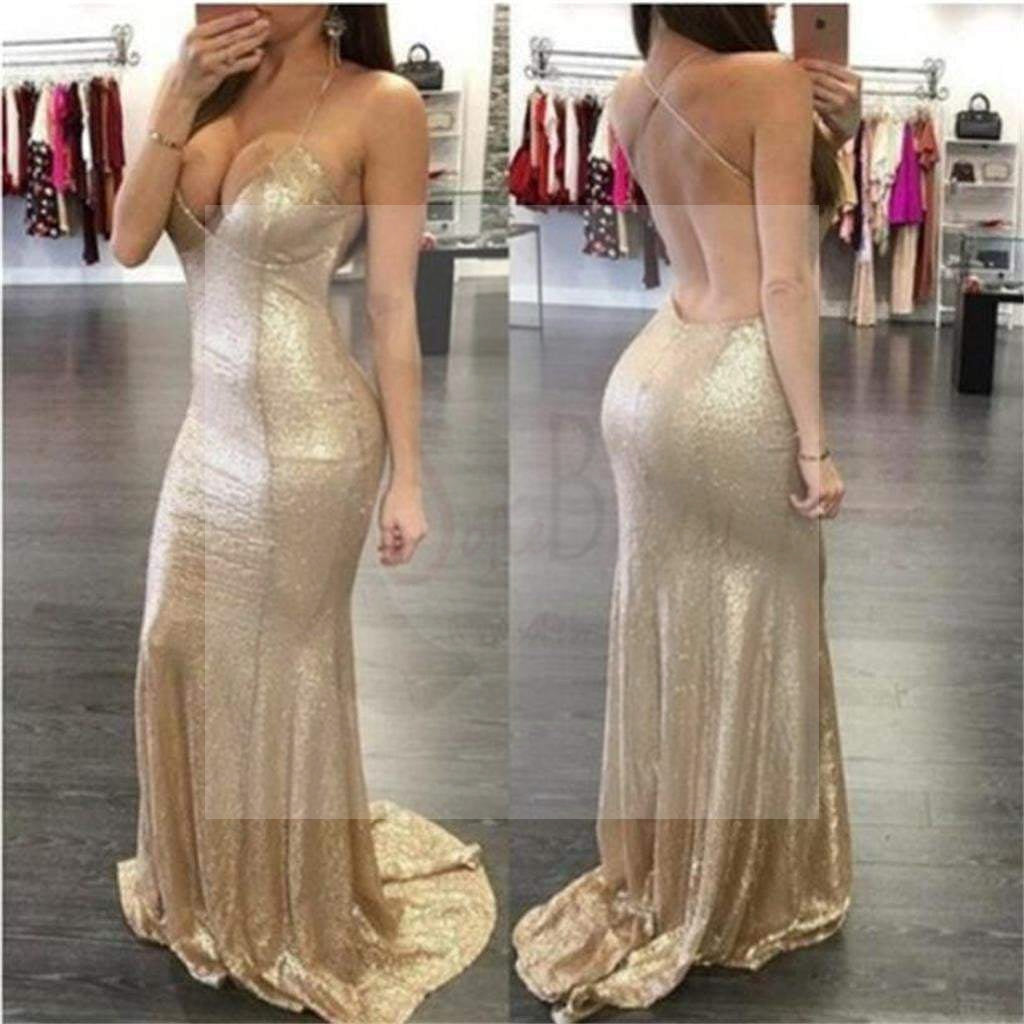 Gold Sequin Sexy Spaghetti Straps Mermaid Party Prom Dresses,Evening Prom Dresses