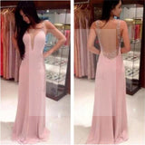 Pretty Pink V-Neck Backless Long Prom Dresses,Party Prom Dresses,Graduation Dress