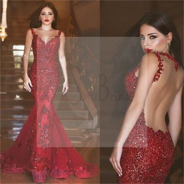 Sexy Red Lace Mermaid Backless Long Prom Dresses, Cheap Popular Party Prom Dresses
