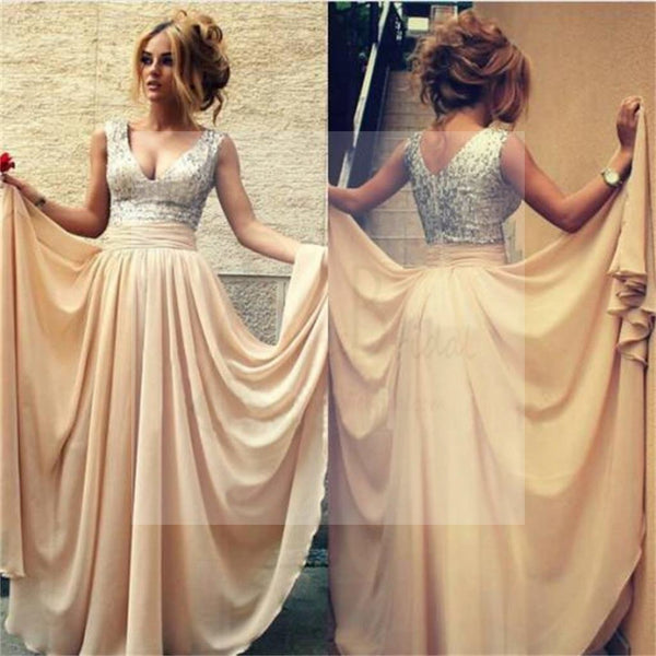 Charming V-Neck Sequin Chiffon Prom Bridesmaid Dresses, WD0261