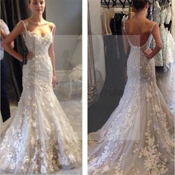 c4f4eb80c2 White lace Mermaid Wedding Dresses, Sexy Backless Prom Dresses, Gorgeous  Prom Gown, WD0129
