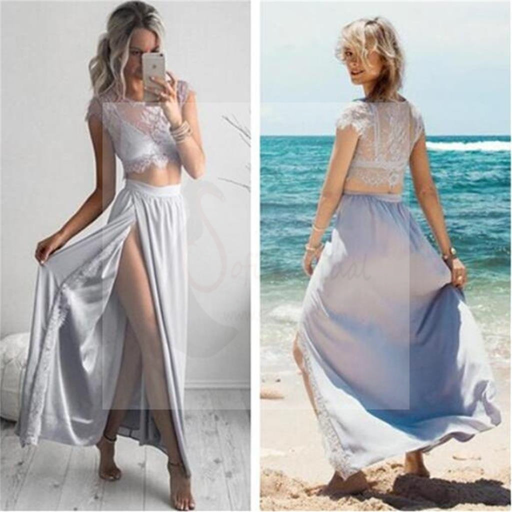 Two Pieces Cap Sleeves Sexy Side Slit Prom Dresses,Cheap Beach Newest Prom Dresses