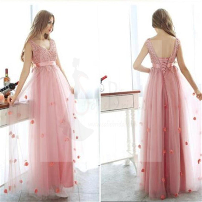 Charming Pink Tulle Lace Up Popular Party Prom Dresses, PD0090