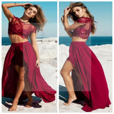 Burgundy Sexy Slit Two-piece Party Prom Dress, PD0091