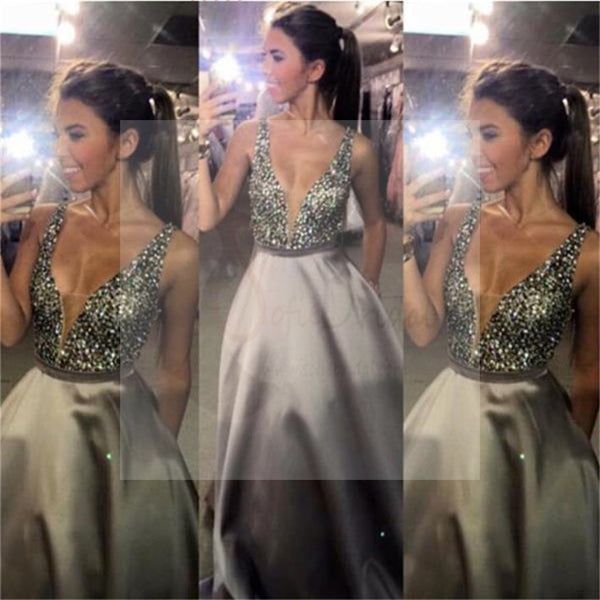 Charming V-Neck Sexy Sequin Top Satin Long A-line Prom Dresses, PD0095