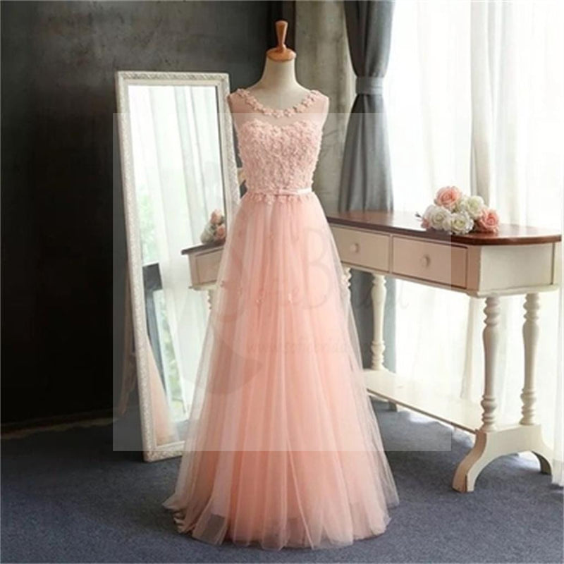 Pink Lace Long A-Line Scoop Tulle Prom Dresses, Cheap Simple Prom Dress