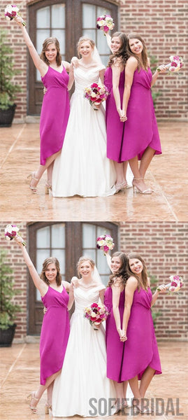 Modern V-neck Tea-length Simple Cheap Bridesmaid Dresses, BD0579