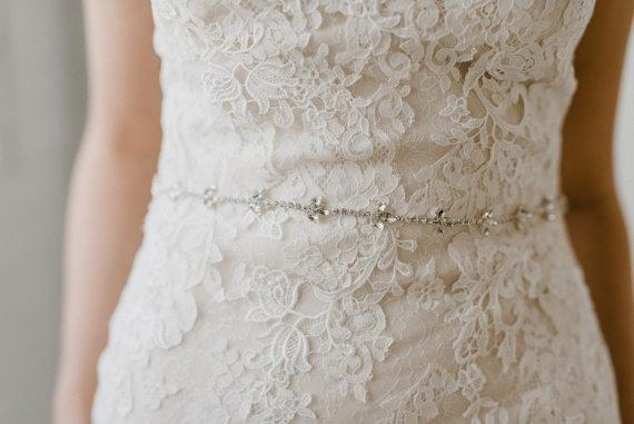 Thin Wedding Crystal Belt, Rhinestone Beaded Sash, Handmade Belts for Wedding, CB001