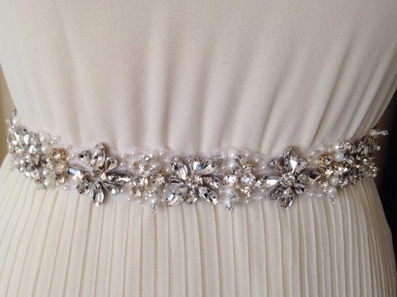 Luxury Crystal Belts, Rhinestone Beaded Sash, Handmade Belts for Wedding, CB002