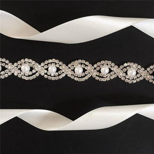 Lovely Pearl Belts, Rhinestone Beaded Sash, Handmade Belts for Wedding, CB004