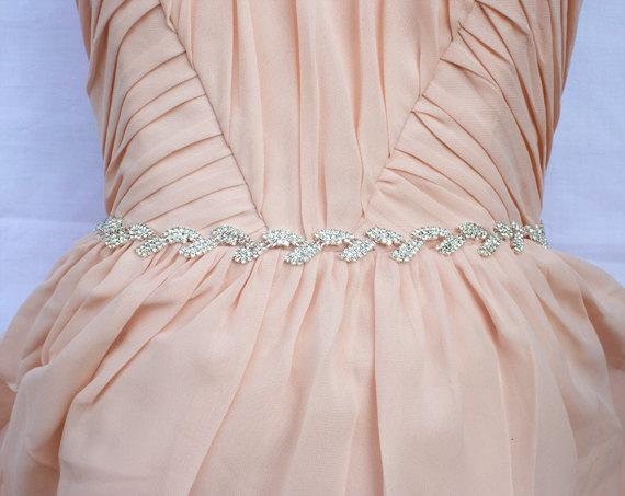 Rhinestone Satin Sash, Beaded Wedding Belts, Handmade Leaf Shape Sash, CB005