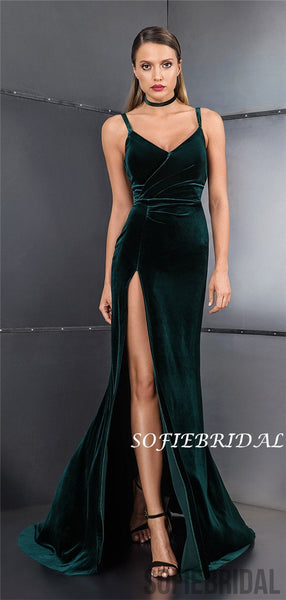 Spaghetti Straps Long Green Velvet Prom Dresses With Split, PD1006