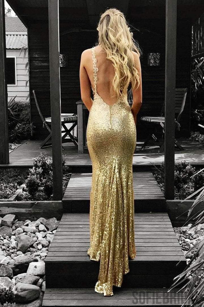 Gold Sequin Mermaid Prom Dresses, Backless Prom Dresses, Simple Prom Dresses, Long Prom Dresses, PD0407