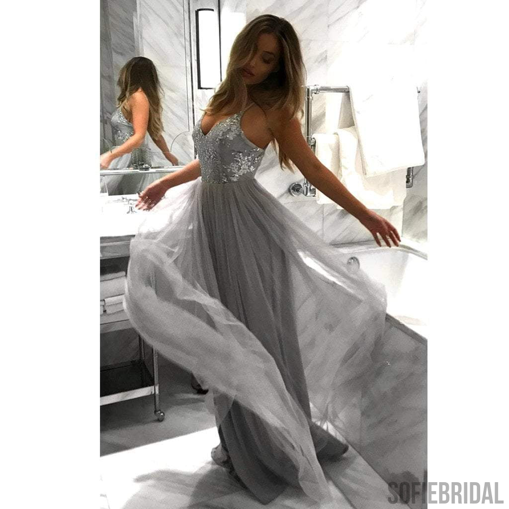 Spaghetti Lace Tulle Long A-line Light Grey Prom Dresses, Backless ...