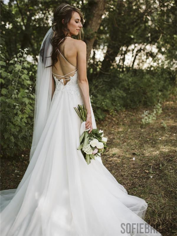 A-line Spaghetti Straps V-neck Lace up back Wedding Dresses, WD0310