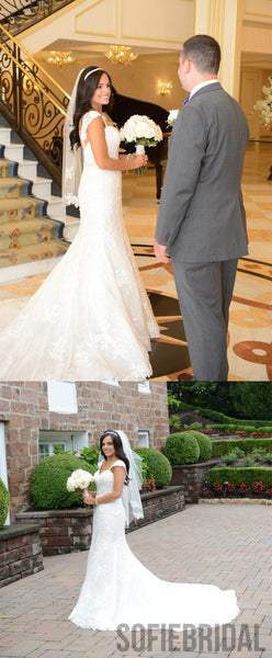 Mermaid Cap Sleeves Backless Beading Lace Wedding Dresses, WD0475