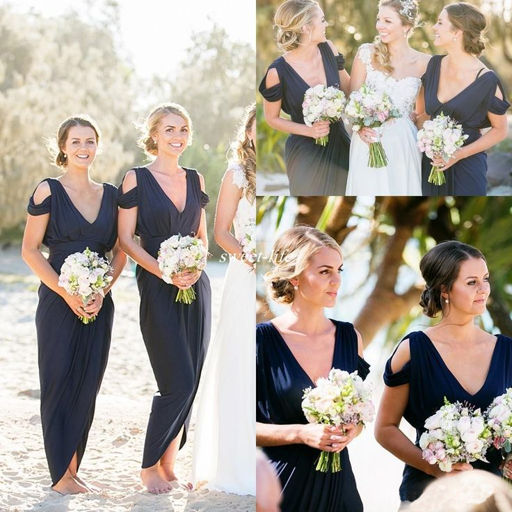 V Neck Boho Navy Jersey Beach Wedding Bridesmaid Dresses, Cheap Popular Bridesmaid  Dresses,