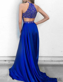 Royal Blue Halter Rhinestone Satin Long Prom Dresses, PD0826
