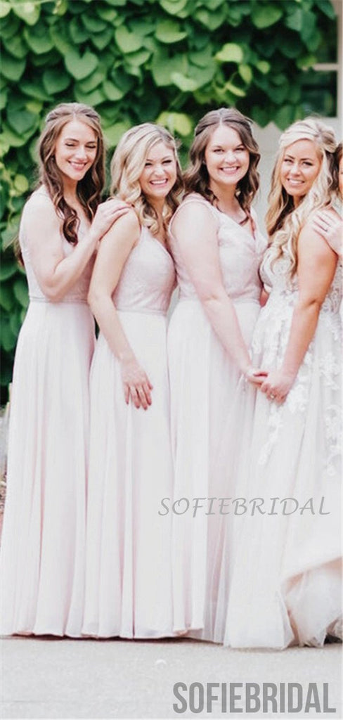 A-line V-neck Lace Top Backless Long Chiffon Bridesmaid Dresses, BD1075