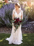Mermaid V-neck Long Sleeves Lace Backless Wedding Dresses, WD0307