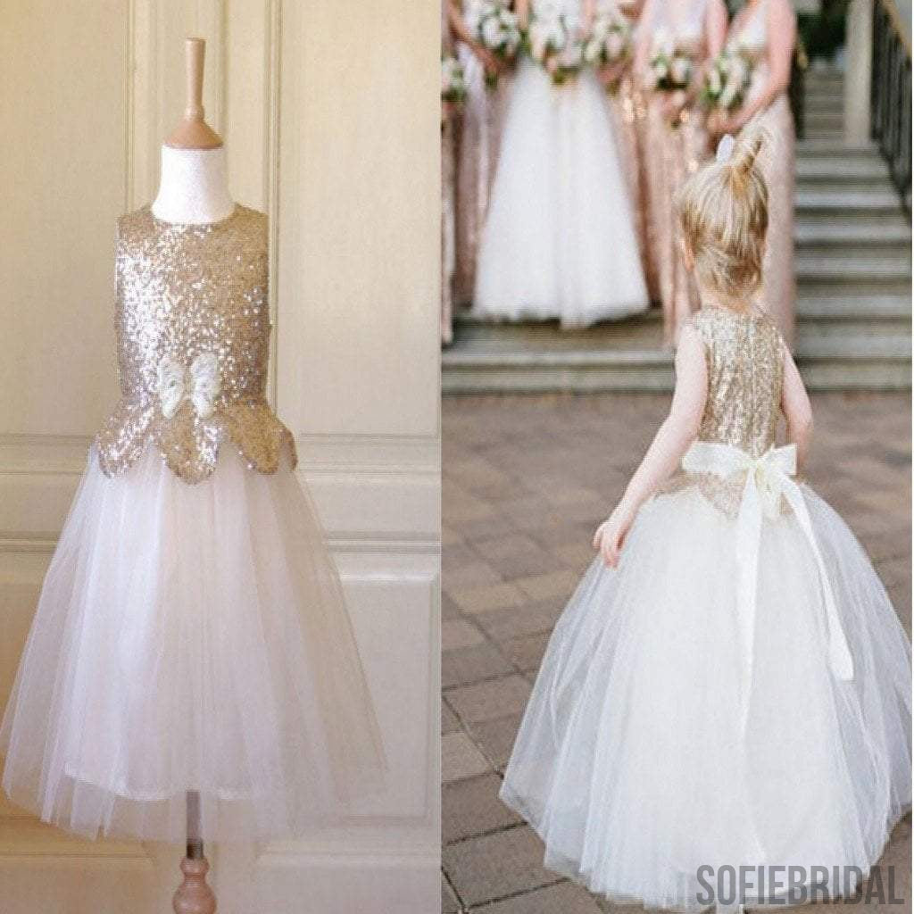 Sleeveless gold sequin top tulle pretty flower girl dresses with bow sleeveless gold sequin top tulle pretty flower girl dresses with bow fg004 mightylinksfo