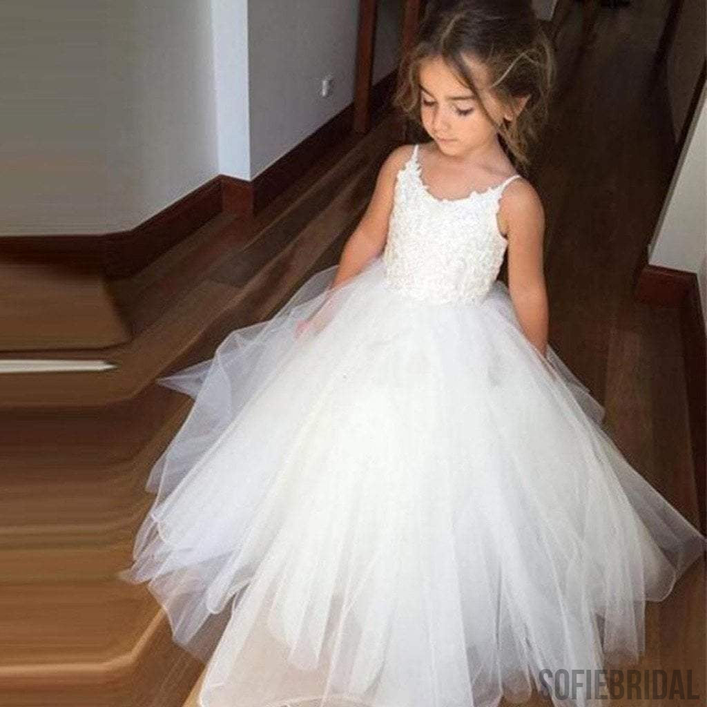Wedding Flower Girl: Spaghetti Lace Top Ivory Tulle Hot Sale Flower Girl