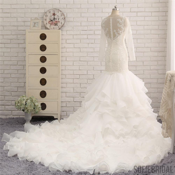 c94a93462e65 Ivory Long Sleeve See Through Lace Mermaid Chiffon Wedding Dresses, Bridal  Gown, WD0242