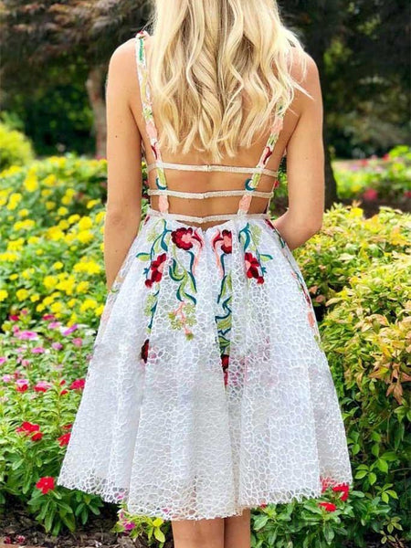 A-line Deep V-neck Appliques Backless Short Homecoming Dresses, HD0110