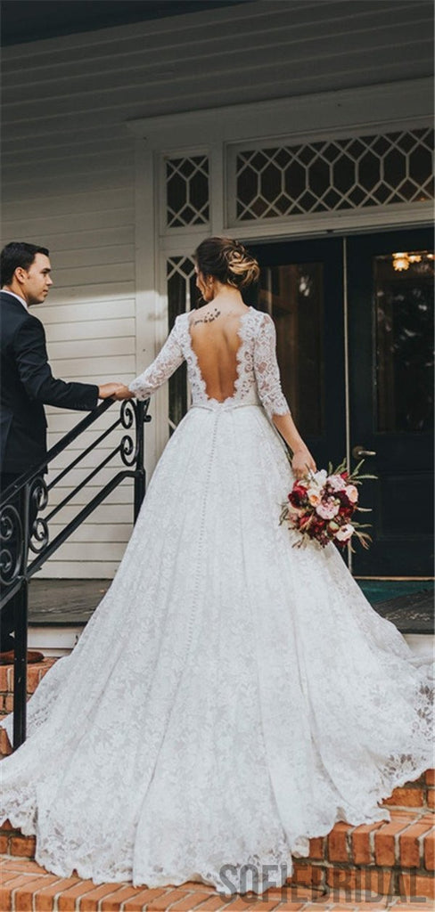 A-line 3/4 Sleeves V-back Full Lace Elegant Wedding Dresses, WD0308