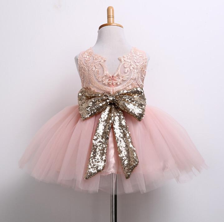 Light Pink Tulle lace Little Girl Dresses, Cheap Flower Girl Dresses With Sequin Bow, FG071