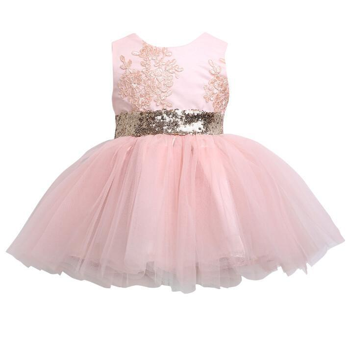 Light Pink Tulle Lace Little Girl Dresses Cheap Flower Girl Dresses With Sequin Bow Fg071