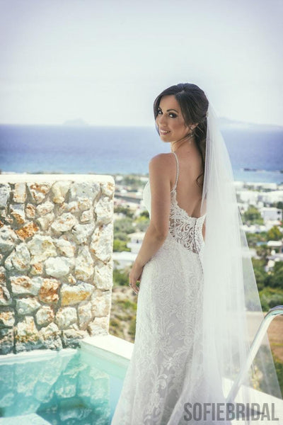 Straghetti Straps Deep V-neck Backless Lace Wedding Dresses, WD0470